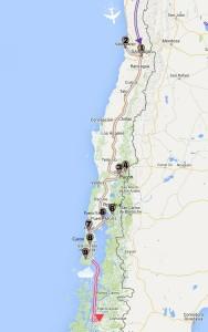 Carte itinéraire du Chili