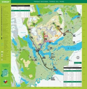 Carte trek W, Torres Del Paine